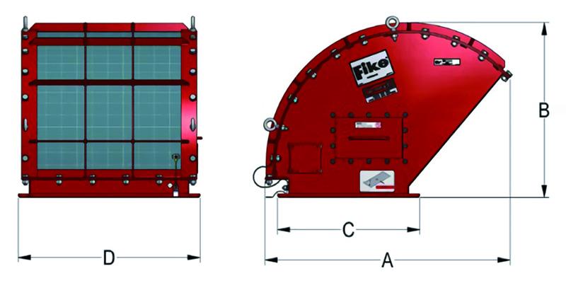 FlamQuench Ⅱの寸法図