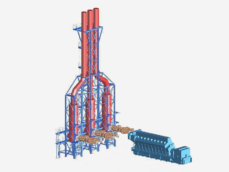 ガスエンジン発電設備の煙道爆発防護用取付例